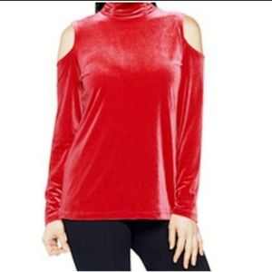 Susan Graver Top Stretch Velvet Red Cold-shoulder